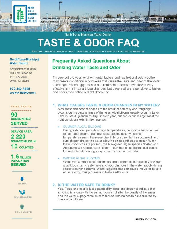Taste & Odor Fact Sheet